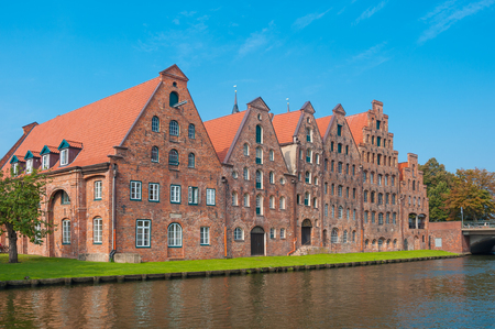 Salt storage, historic salt storage warehouses on the river Trave in L??¼beck at the Baltic Sea