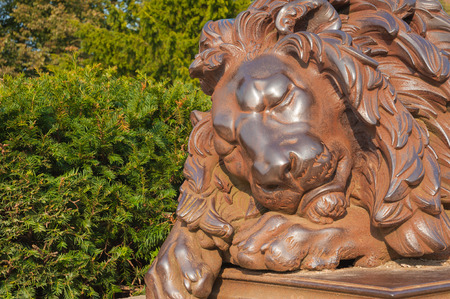 Statue L??�beck lion at Holsten Gate in L??�beck at the Baltic Sea