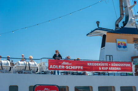 Tourists on the deck of a excursion boat in Sassnitz on the island of R?gen at the Baltic Sea Editorial