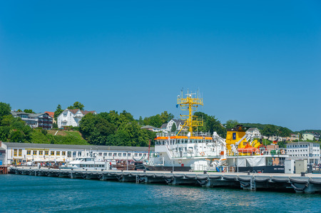 Survey ship Capella on the landing stage at the harbor in Sassnitz on the island of R?gen at the Baltic Sea