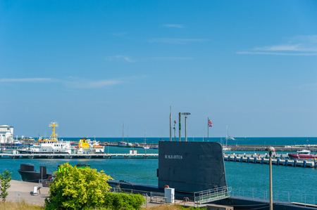 Harbor with the submarine HMS Otus in Sassnitz on the island of R?gen at the Baltic Sea