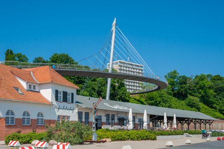 Sassnitz station at the harbor and pedestrian bridge on the island of R?gen at the Baltic Sea Editorial
