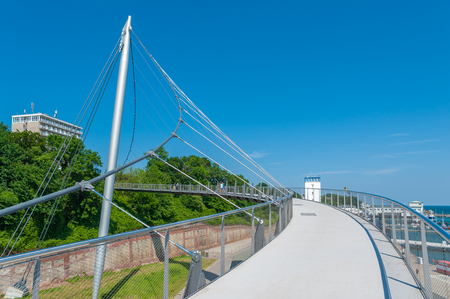 Pedestrian bridge at the harbor in Sassnitz on the island of R?gen at the Baltic Sea