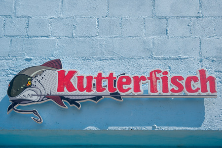 Advertising placard for the restaurant Cutterfish in Sassnitz on the island of R?gen at the Baltic Sea Editorial