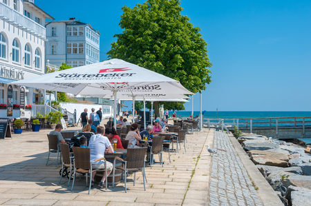 Promenade with restaurant in Sassnitz on the island of R?gen at the Baltic Sea