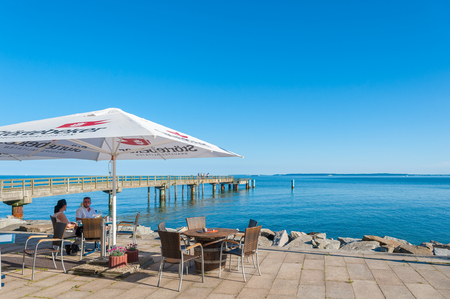 Promenade with restaurant and pier in Sassnitz on the island of R?gen at the Baltic Sea Editorial