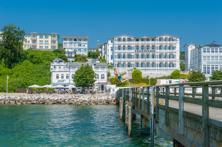 Pier with historic villas and hotel Fürstenhof in Sassnitz on the island of Rügen at the Baltic Sea