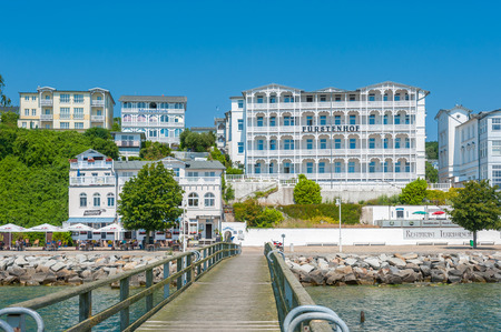 Pier with historic villas and hotel F�rstenhof in Sassnitz on the island of R�gen at the Baltic Sea