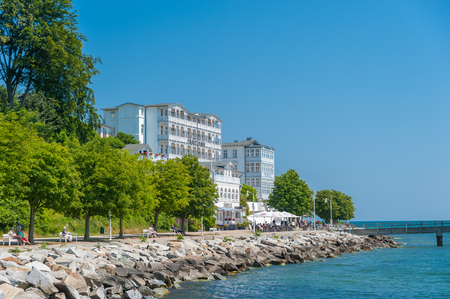 Promenade with hotel Fürstenhof in Sassnitz on the island of Rügen at the Baltic Sea