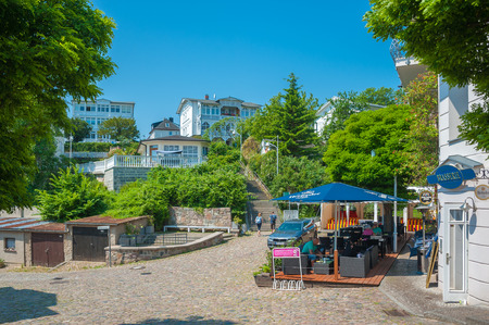 Old town with historic villas in Sassnitz on the island of Ruegen at the Baltic Sea
