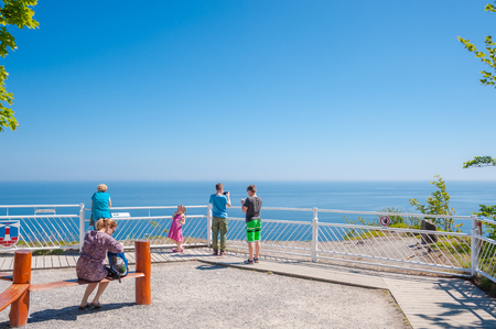 Visitors on the chairlift viewing platform in Sassnitz on the island of R?gen Editorial