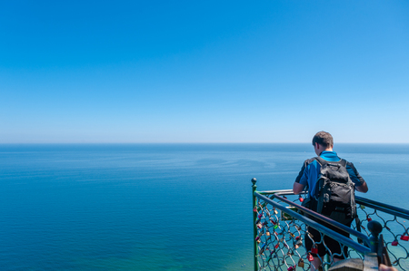 Visitors on the Victoria viewing platform at the Chalk Cliffs near Sassnitz