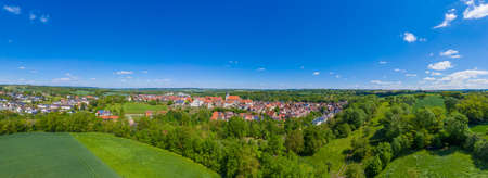 Aerial view of Gochsheim and surrounding countryside. Gochsheim is a small town in the Kraichgau region of Germany Archivio Fotografico - 164298272