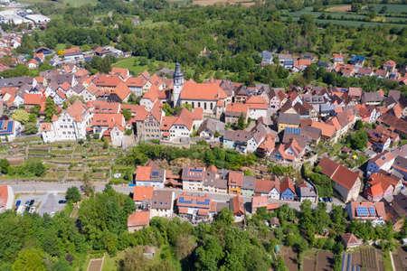 Aerial view of the historic old town of Gochsheim. Gochsheim is a small town in the Kraichgau region of the Black Forest Archivio Fotografico - 164298284