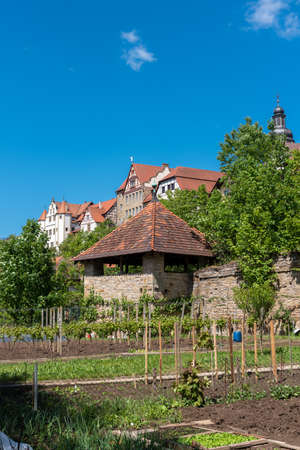 City view of Gochsheim with the historic city wall, the castle Graf-Eberstein and the St. Martin church. Gochsheim is a small town in the Kraichgau region of Germany
