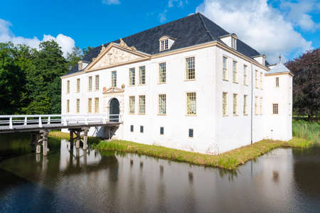 Dornum, Germany. July 24, 2020: Front view of the historic water castle Norderburg, Dornum in Lower Saxony in Germany