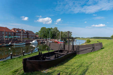 Historic Mudder boat in the Old Port of Hooksiel. Hooksiel is a holiday resort in East Frisia and is located on the North Sea coast in Germany.
