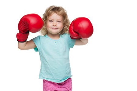 boxing glove: Little girl with red boxing gloves