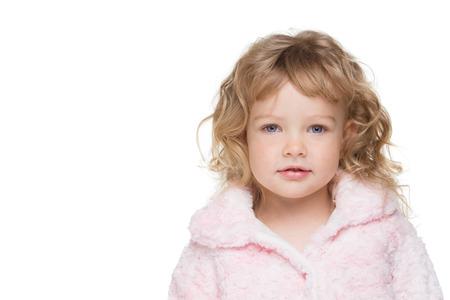 pink fur: Smiling Little Woman in Pink fur