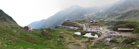 balea: Aerial view of Balea Lac from the top of fagaras mountain. Stock Photo