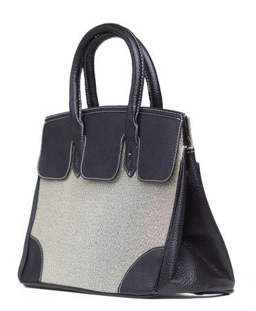 'hide out': Beautiful black handbag on white