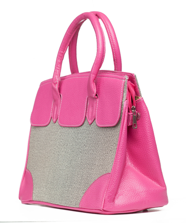'hide out': Beautiful pink handbag on white Stock Photo