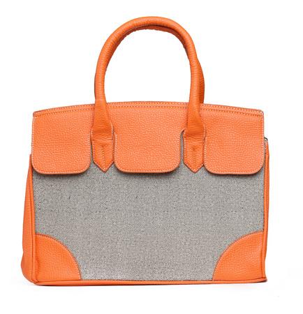 'hide out': Beautiful orange handbag on white