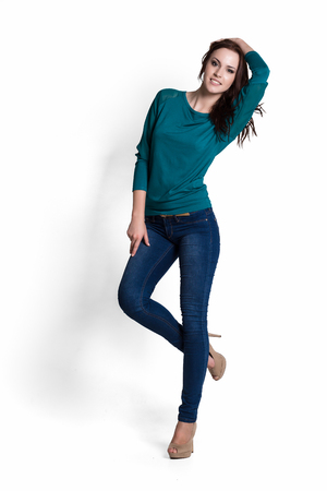 Fashion model wearing green sweater with emotions