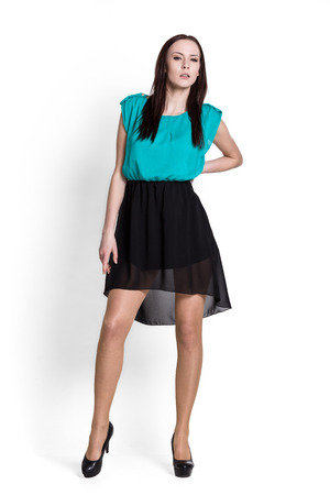 glamour girl: Glamour girl in dress on white Stock Photo