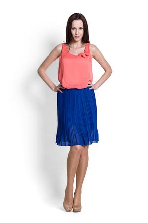 teethy: Glamour girl in skirt on white