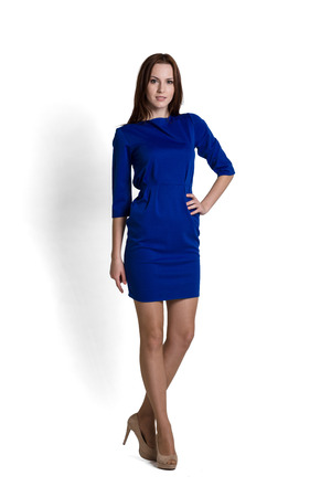 Fashion model wearing blue dress with emotions Imagens