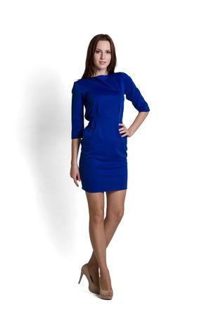 mini skirt: Mod�le de mode avec une robe bleue avec des �motions Banque d'images