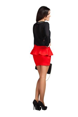 Mini skirt: Elegant glamour woman wearing red skirt