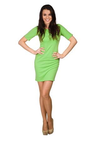 beauty full: Glamour girl in green dress on white
