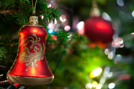knack: Red Christmas ornament hanging, with copy space to the left. Stock Photo