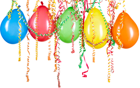 party balloons: Colorful balloons on a white background