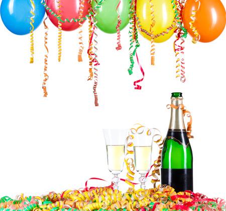 Voor Nieuwjaar of andere festiviteiten, een paar glazen champagne met ballon en