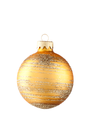 ball isolated: Golden Christmas ball isolated on white