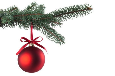christmas baubles: Christmas ball with curly ribbon on christmas tree Stock Photo