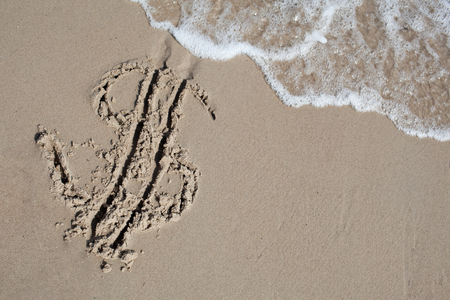 allegory painting: Dollar sign on sand beach