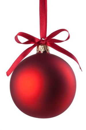 christmas ball isolated: Christmas baubles with curly ribbon on christmas tree isolated on white Stock Photo