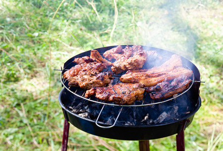 juicy rib-eye cooking on the grill
