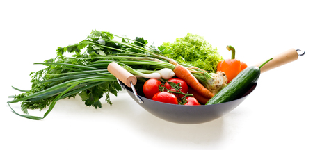 chinesse: Fresh vegetables in chinesse wok on white background