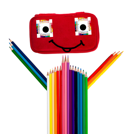 pencil case: happy colorful guy made of pencilcase and crayons Stock Photo