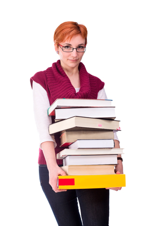 young woman carry many books