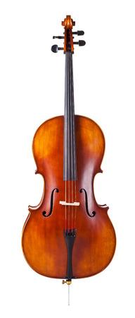 mooie houten cello op een witte achtergrond Stockfoto