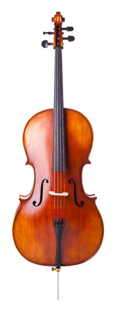 violines: hermoso violonchelo de madera aislada sobre fondo blanco