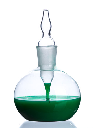 retort: Little bottle with green liquid