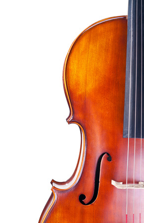 Close-up of a classic cello isolated on white background Imagens