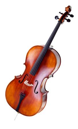 mooie houten cello die op witte achtergrond wordt geïsoleerd